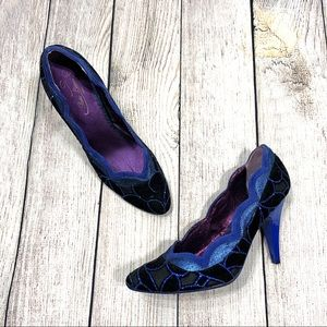 Poetic License Blue Birdcage Pumps Velvet